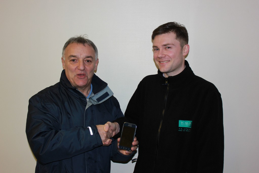 Simon West handing over Phone to Lou Macari